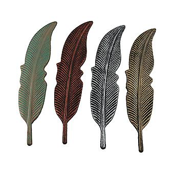 4 Piece Colored Metal Feather Wall Hanging Set