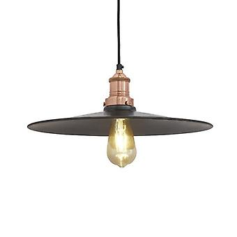 Brooklyn Antique Flat Industrial Pendant Light - Dark Pewter - 15