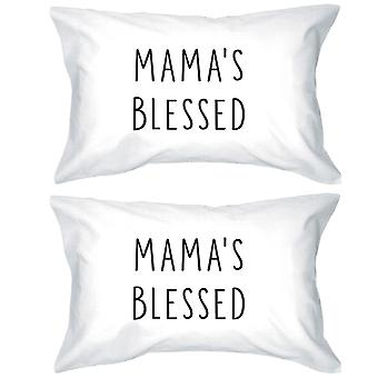 Mama's Blessed White Simple Design Cotton Pillow Case For Moms