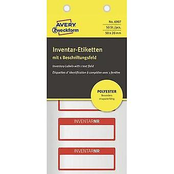 Avery-Zweckform 6907 Labels (hand writable) 50 x 20 mm Polyester film Silver, Red 50 pc(s) Permanent Stock labels