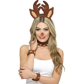 Set pinup Brown reindeer with head band collar and bracelets
