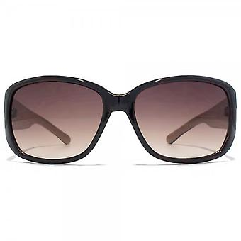 Carvela Classic Rectangle Wrap Sunglasses In Tortoiseshell On Nude