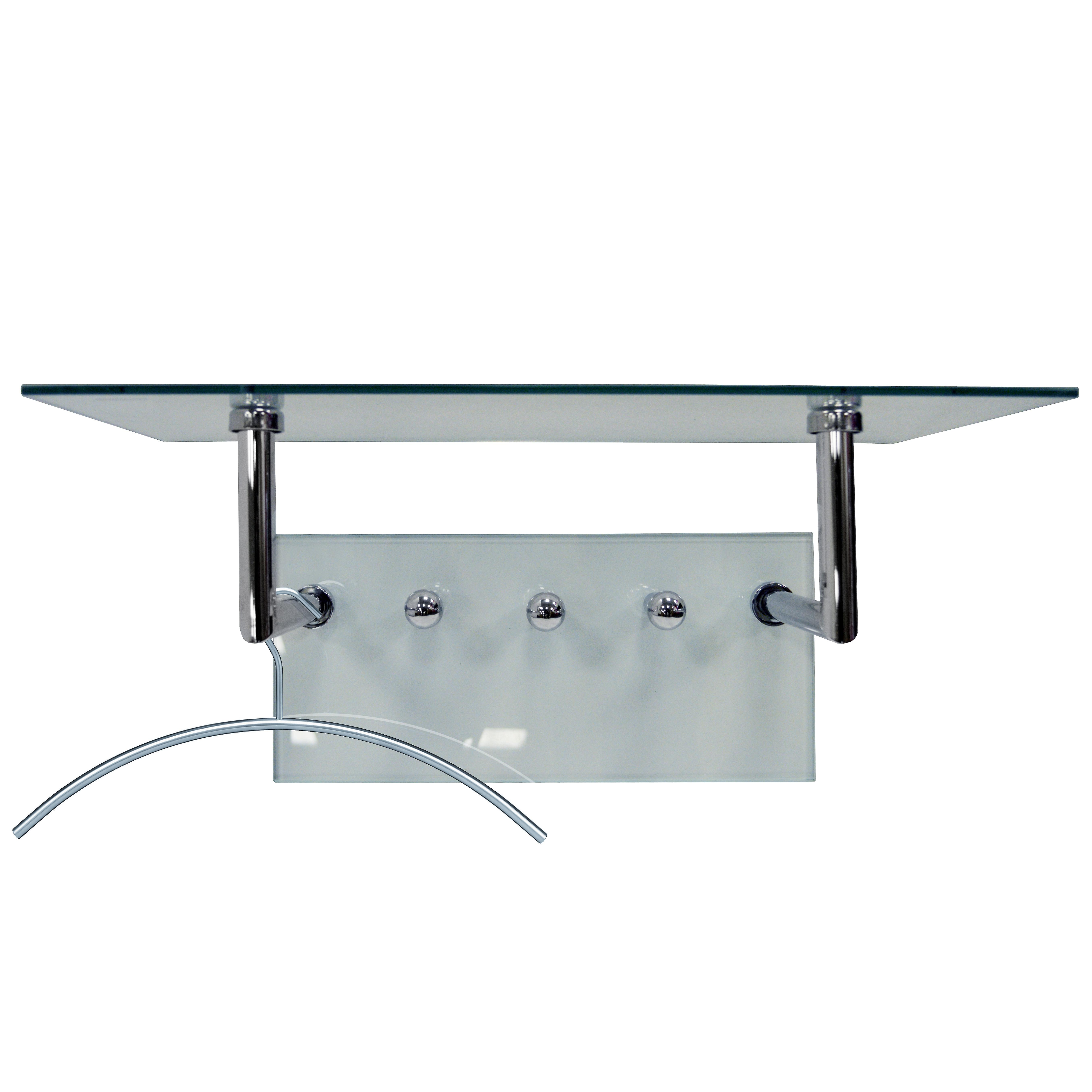 Ghost - Glass And Metal Wall Shelf With Coat Hanging Pegs - Silver / Clear
