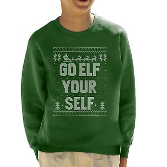 Gå Elf selv Jul Strik mønster Kid Sweatshirt