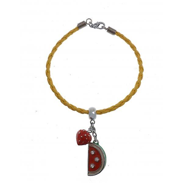 W.A.T Yellow Plaited Faux Leather StrawberryFruit Charm Friendship Bracelet