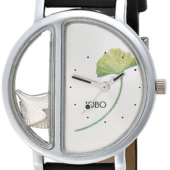 Ladies watch Ginkgo stainless steel 925 Silver black leather band sweep second hand
