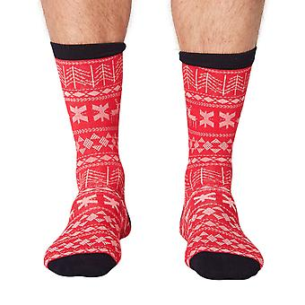 Noel men's soft Christmas bamboo crew socks in red | By Thought