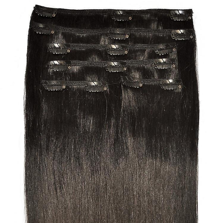 # 1 b - naturschwarz, Luxus, vollen Kopf, echte Clip-in Hair Extensions - 100 % Remy, Triple Schuß, dicken Menschenhaar - 12-22 Zoll