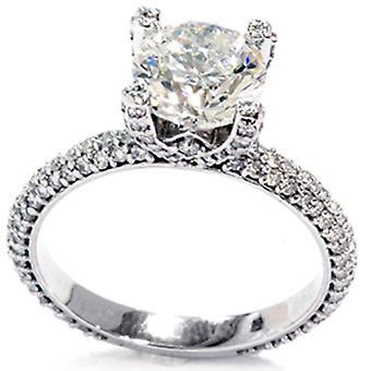2 7/8ct Diamond White Pave Ring 14K Gold