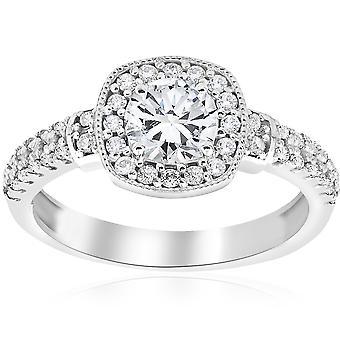 1ct Diamond Pave Cushion Halo Vintage Engagement Ring 14K White Gold