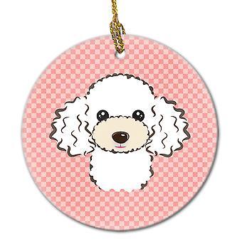 Carolines Treasures  BB1257CO1 Checkerboard Pink White Poodle Ceramic Ornament