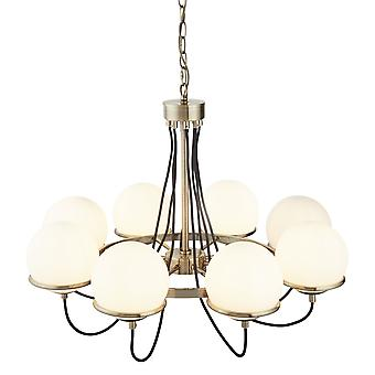 Searchlight 7098-8AB Sphere Eight Light Ceiling Pendant Light In Antique Brass With Glass Shades