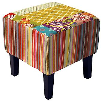 Patchwork - Shabby Chic Square Pouffe Padded Stool /wood Legs - Multi-coloured