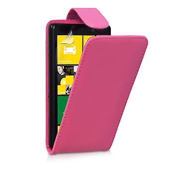 Yousave Nokia Lumia 820 Lederoptik Flip Case - Hot Pink