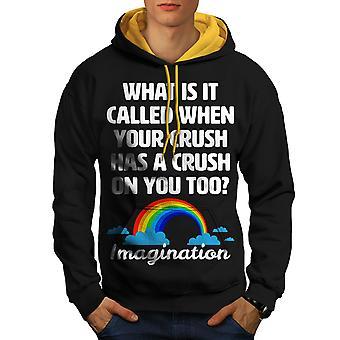 Crush Imagination Funny Men Black (Gold Hood)Contrast Hoodie | Wellcoda