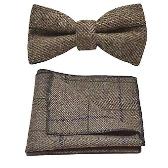 Luxe pinda bruin Herringbone Check strikje & zak plein Set, Tweed