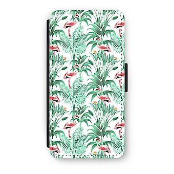 iPhone 7 Plus Flip Case - Flamingo leaves