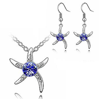 Womens Silver Starfish Necklace And Earrings Set Dark Blue Crystal Stone