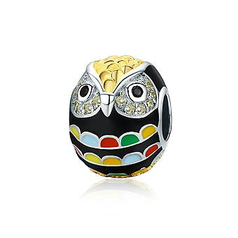 Sterling silver charm Colorful owl SCC468