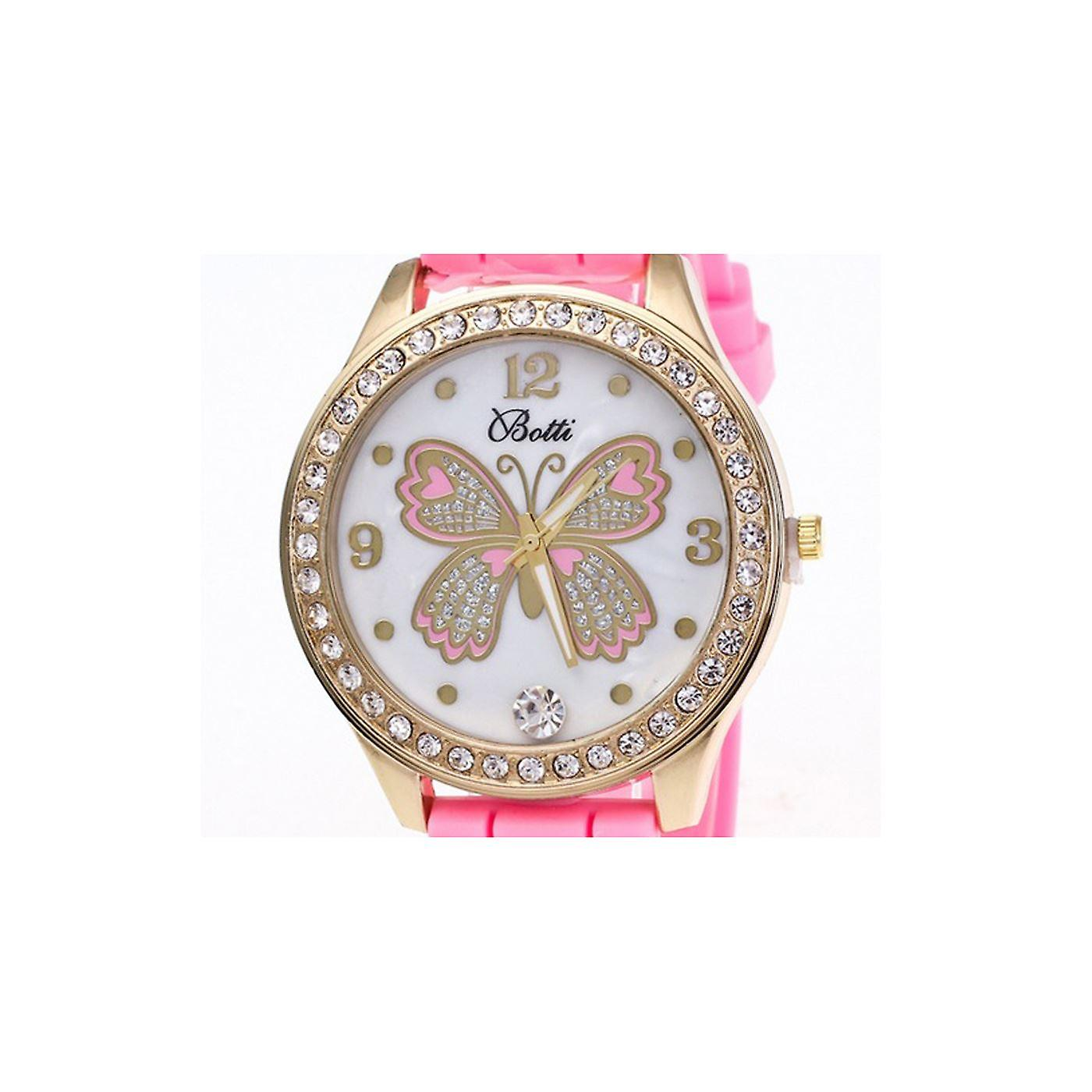 Lovely Gold Butterfly Watch Love Time Funky Pink