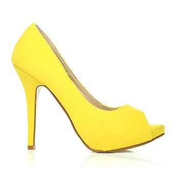 TIA Yellow Faux Suede Stiletto High Heel Platform Peep Toe Shoes
