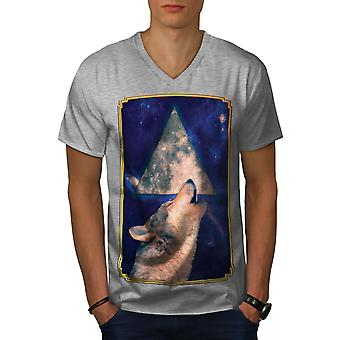 Howling Wolf Space Animal Men GreyV-Neck T-shirt | Wellcoda