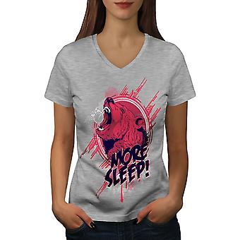 Bär schlafen mehr Frauen GreyV-Neck T-shirt   Wellcoda