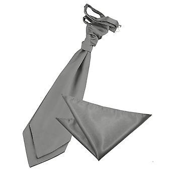 Platinum oformaterad Satin Bröllop Cravat & Pocket Square Set