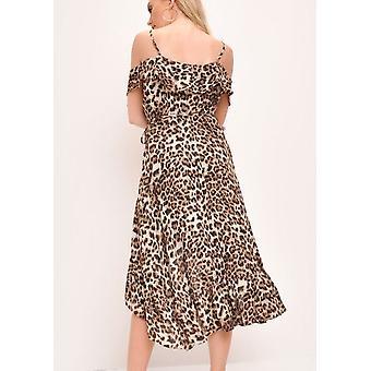 Leopard Print Frill Detail Maxi Dress Multi