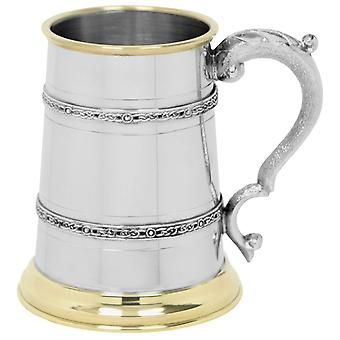 Celtic Double Band mässing Lip och mässing bas tenn Tankard - 1 Pint