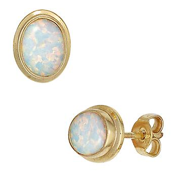 Ohrstecker Opal-Ohrringe 333 Gold Gelbgold 2 Opale Ohrring gold Bouton