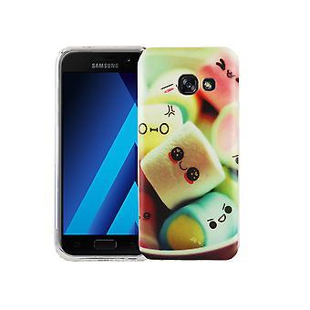Caja móvil para adorno de bolsa protectora caso Samsung Galaxy A3 2017 cubierta slim TPU + armadura protección vidrio 9 H Letras dulces de malvavisco