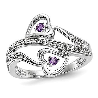 1/12 Carat (ctw) Amethyst Double Heart Promise Ring in 14K White Gold with Accent Diamonds