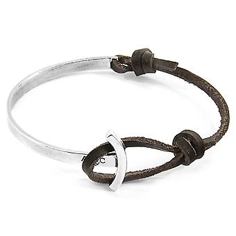 Anchor & Crew Dark Brown Galleon Anchor Silver and Flat Leather Half Bangle