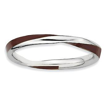 Argento lucidata placcato in rodio ritorto marrone smaltato 2.5 x 2,25 mm impilabile anello - anello taglia: 5-10