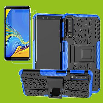 For Samsung Galaxy A7 A750F 2018 hybrid case 2 piece blue + tempered glass bag case cover sleeve