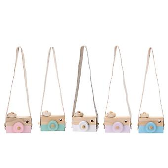 Nice wooden Camera safe Natural toy Camera for Kid Fashion Pink White clothing accessory for BabyPretend educational toys