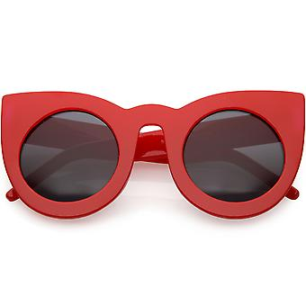Women's Oversize Cat Eye Sunglasses Wide Arms Round Lens 47mm
