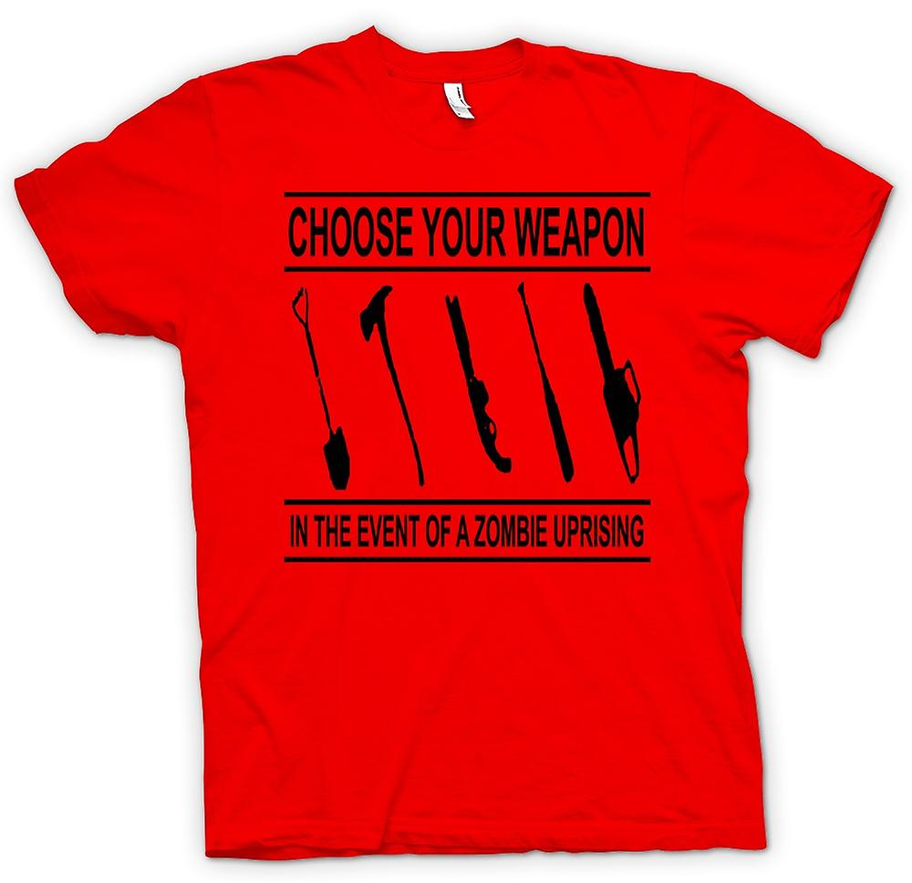 Mens T-shirt - Zombie Uprising Choose Weapon - Funny