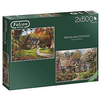 Falcon Deluxe Woodland Cottages Jigsaw Puzzle (2 x 500 Pieces)