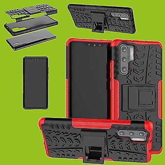 Für Huawei P30 Pro Hybrid Case 2teilig Outdoor Rot Tasche Hülle Cover Schutz