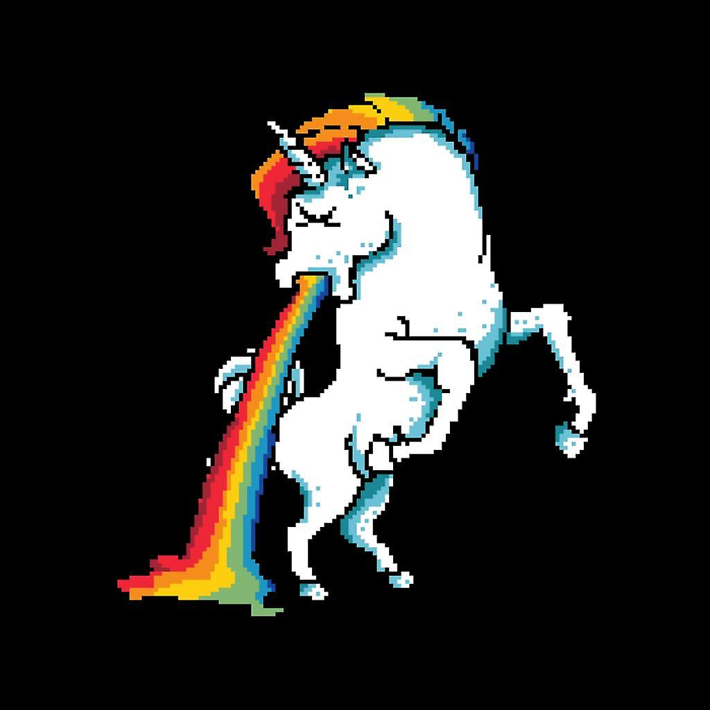 Unicorn Vomiting Rainbow Pixel Art Womens Hooded Sweatshirt  Fruugo-5123