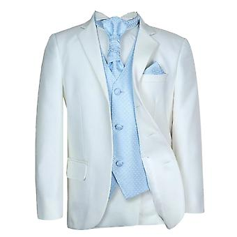 Boys New 5 Pc Ivory & Blue Wedding Cravat Suit