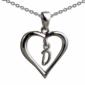 18x18mm D inicial en un corazón colgante con un rolo cadena 20 pulgadas de plata
