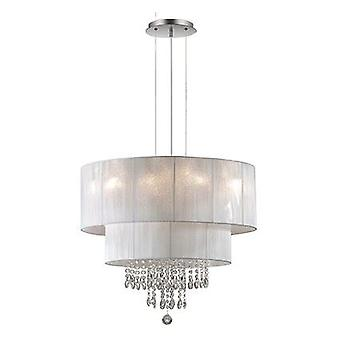 Ideal Lux - Opera Chrome Six Light Pendant With Crystals And White Shade IDL068299