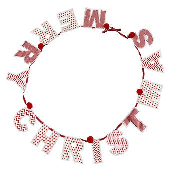 TRIXES röd och vit randig, Chevron Merry Christmas Garland