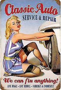 Classic Auto PinUp rusted metal sign    (PST 1812 pt)