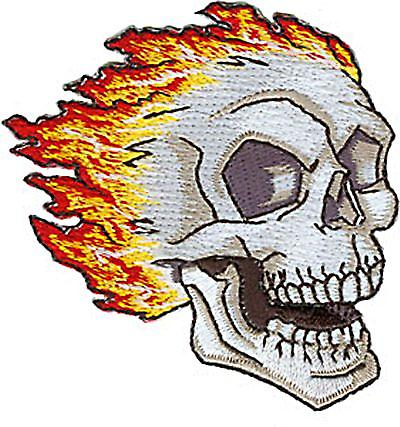 White Skull with Flames embroidered iron-on/sew-on cloth patch      (cv)