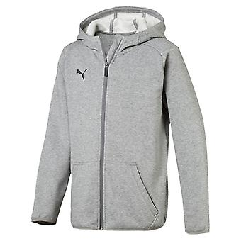 PUMA League casuals Hoody Jr children hooded jacket medium Grey Heather black