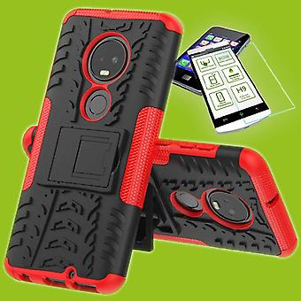 For Motorola Moto G7 / G7 plus hybrid case 2 piece red + tempered glass bag case cover sleeve